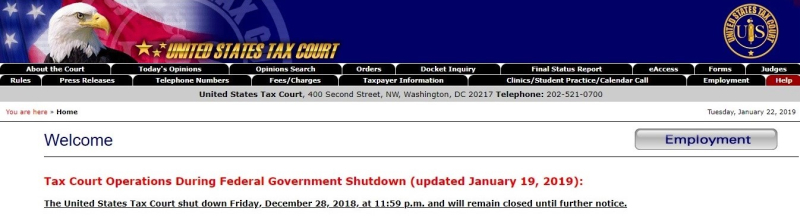 Tax Court website home page during shutdown