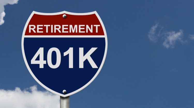 401k workplace retirement plan road sign