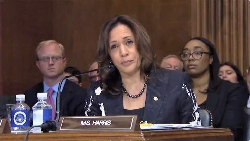 Senator Kamala Harris during a Judiciary Committee hearing 101118 via Twitter