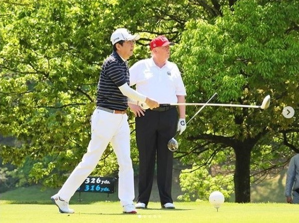 Japan PM Shinzo Abe and Donald Trump golf May 26 2019 Mobara CC_Instagram