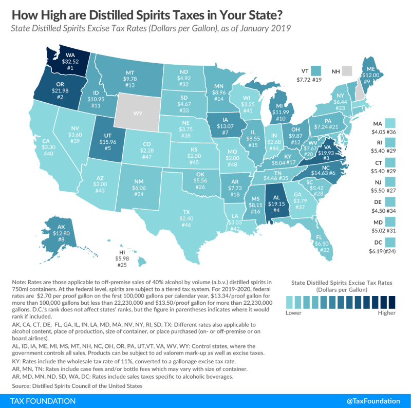 Distilled spirits tax rates by state_The Tax Foundation