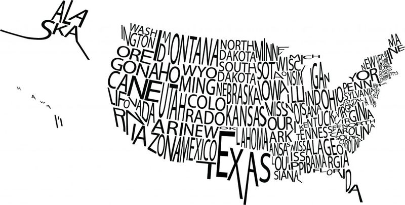 State tax map using text names