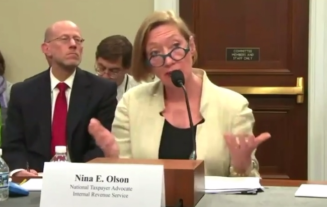 Nina Olson National Taxpayer Advocate testifying before Congressional committee