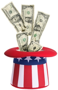 Uncle Sam hat with money in it