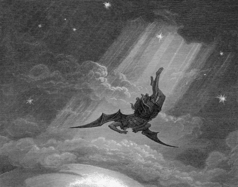Gustave Dore_Satan falling from Heaven_1866 Paradise Lost engraving illustration (2)