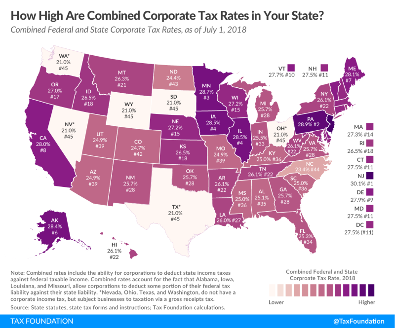 State-Federal combined tax rates in states_Tax Foundation