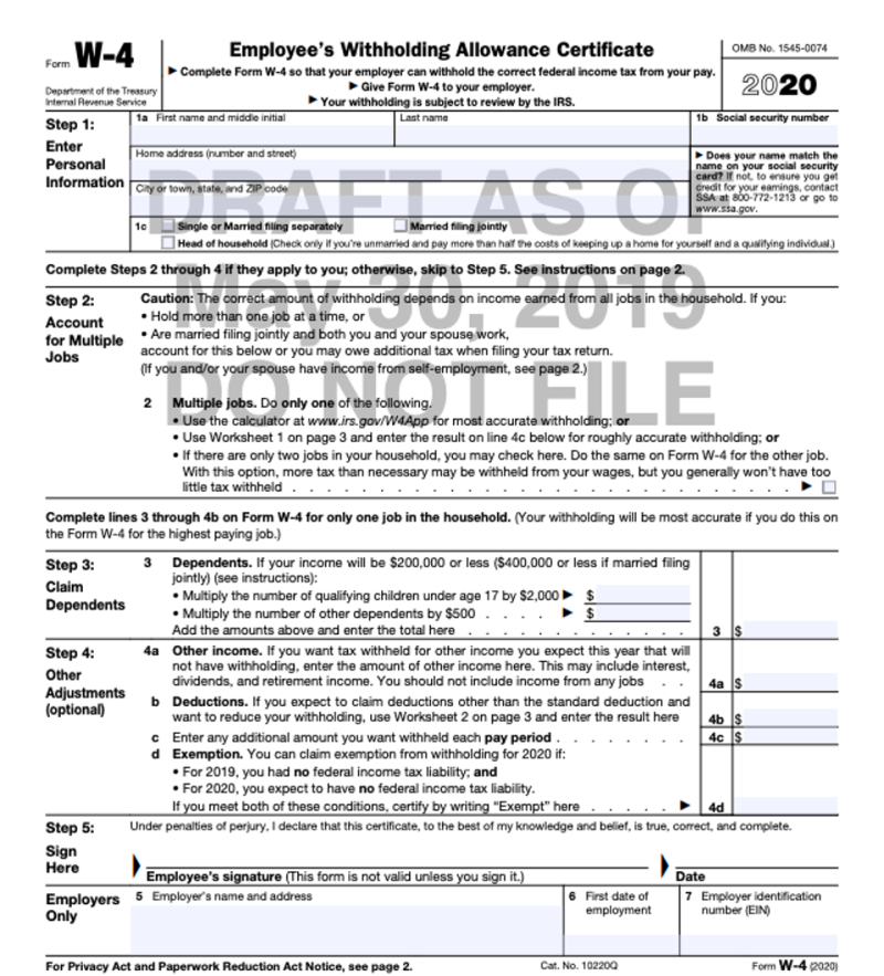 W-4 Form 2020 tax year revisions by IRS per TCJA