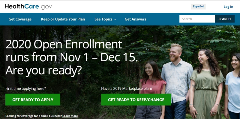HealthCare-dot-gov home page 2020 enrollment period