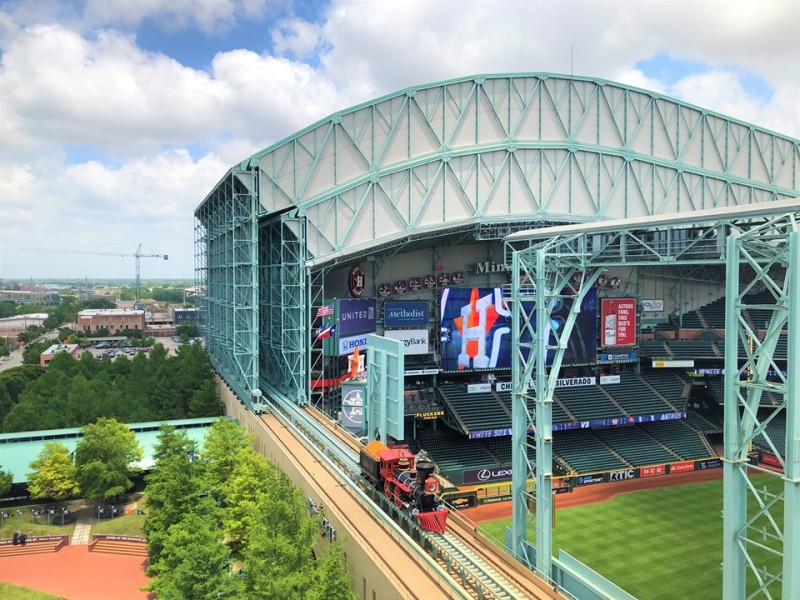 Astros Minute Maid Park homerun train seen from atop neighboring Union Station May 2019