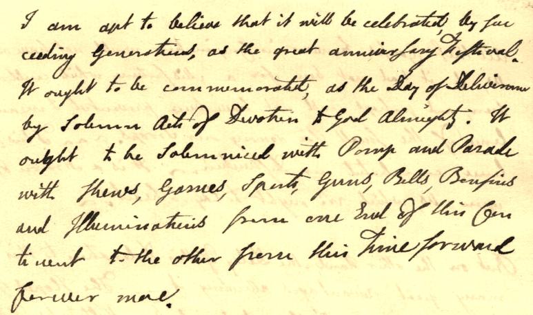 Excerpt of John Adams fireworks letter