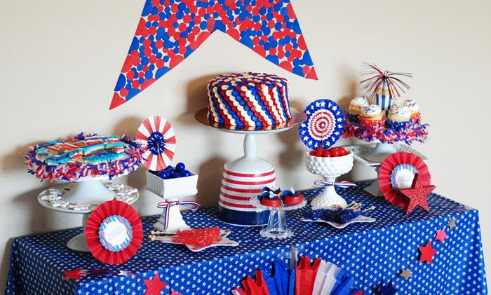 Fourth of July birthday party table_Karas Party Ideas