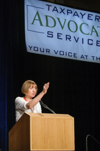 National Taxpayer Advocate Nina Olson speaking at the 2010 TAS Technical Training Symposium