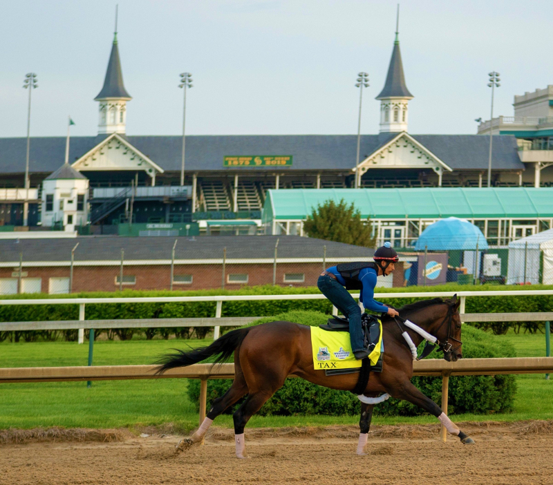 Tax practicing at Churchill Downs for 2019 Kentucky Derby_DeanDorton Twitter account_cropped