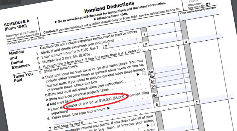 Schedule 1 Form 1040 SALT limit highlighted