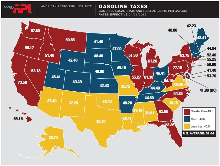 Gas taxes by statek_API date effective April 1 2019