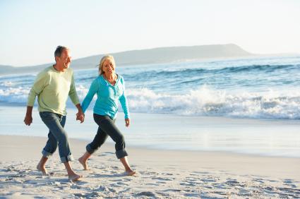 Couple retirees on beach