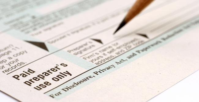 Paid tax preparer IRS return signature block PTIN
