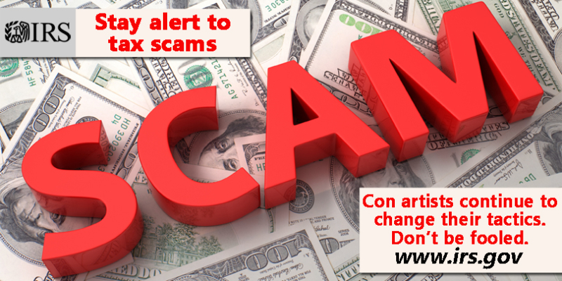 IRS scam warning banner