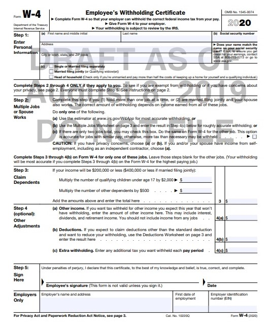 Irs Tax Calendar 2020.Irs Revises Tax Year 2020 Withholding Form W 4 Yet Again Don T
