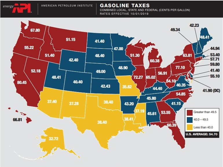 October 2019 gas taxes map_American Petroleum Institute