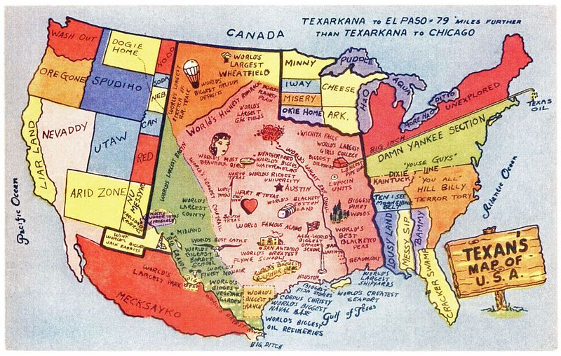 Texans' map of the United States