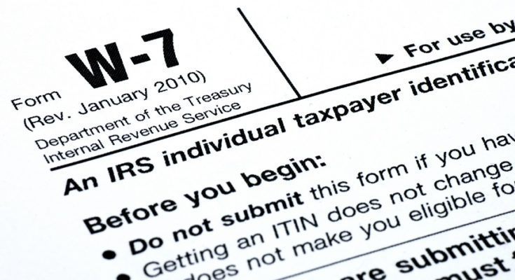 ITINs Form W-7 excerpt