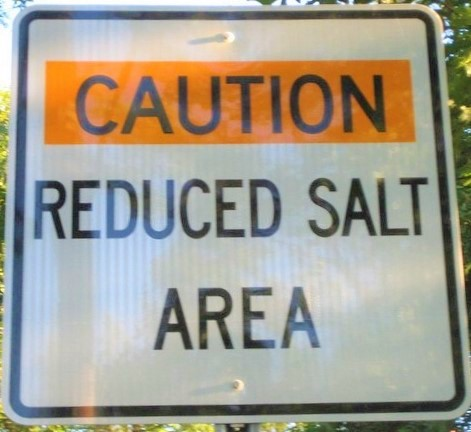 Reduced road salt sign_Madison Wisconsin water utility