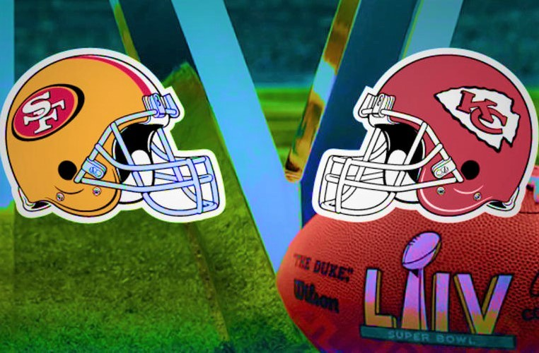 Super Bowl LIV SF and KC helmets
