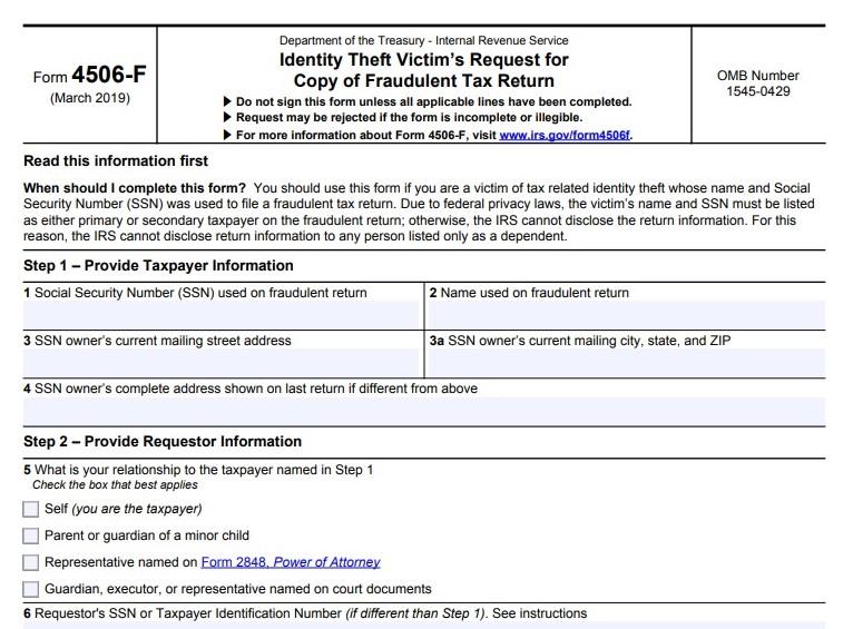 Form 4506-F fraudulent tax return request IRS excerpt