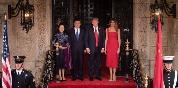 Trumps welcome Chinese President Xi Jinping and wife at Mar-a-Lago Florida