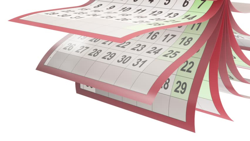 Flipping calendar pages