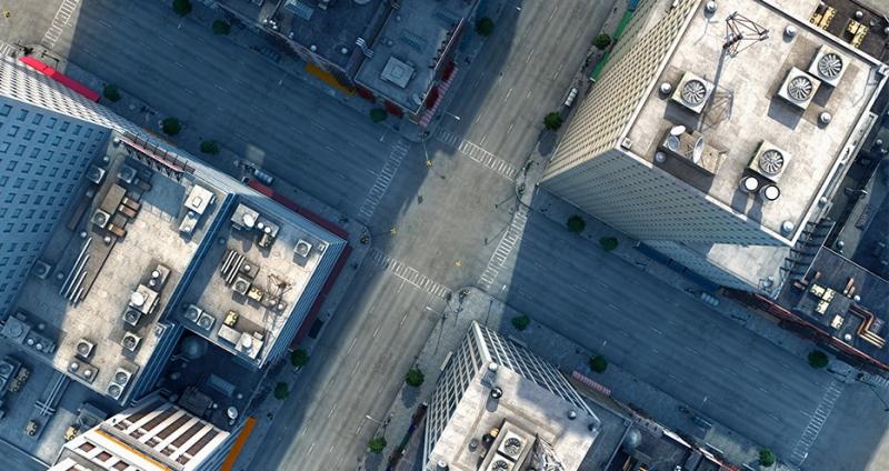 Empty city streets overhead view