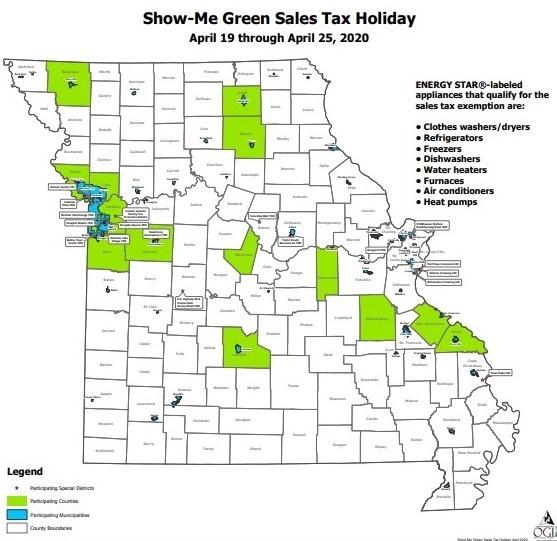 Show Me Green Missouri Energy Star tax holiday jurisdictions 2020