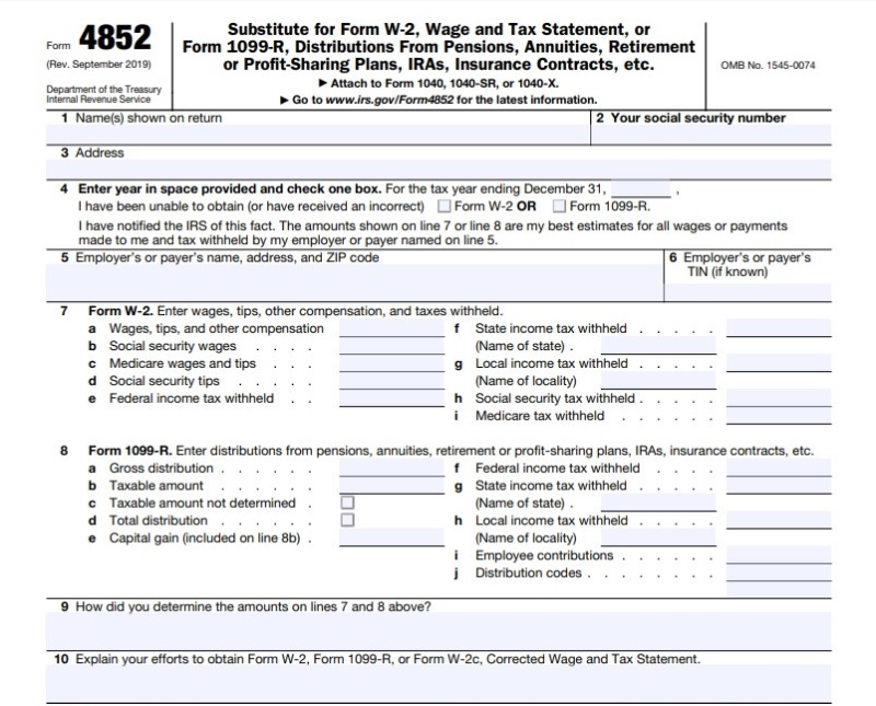Form 4852 substitute W-2