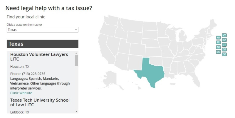 LITC map from Taxpayer Advocate Service