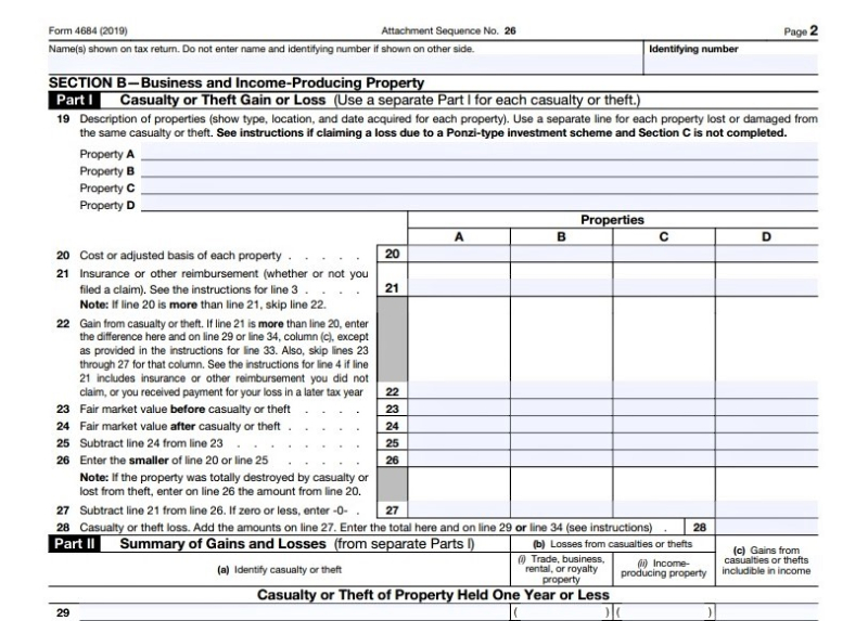 Form 4684 business income producing casualty losses