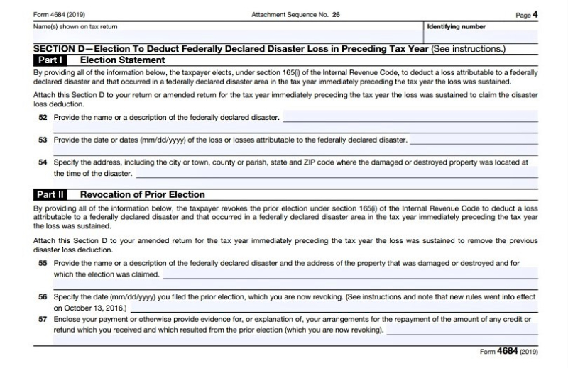Form 4684 personal casualty losses tax year election