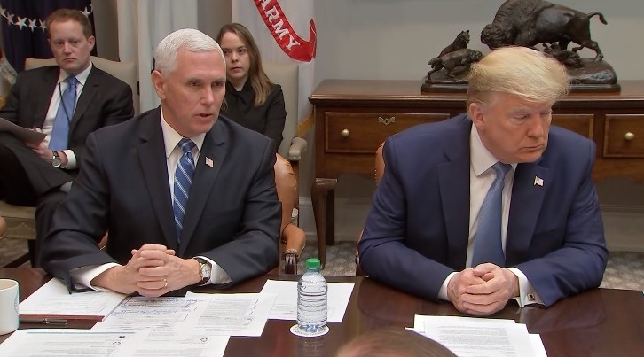VP Pence at White House meeting with Trump on coronavirus 10March2020