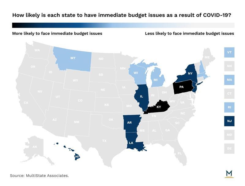 MultiState Associates COVID19 coronavirus state budget map April 2020
