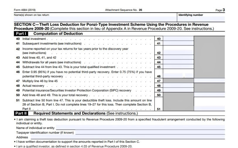 Form 4684 theft Ponzi scheme losses