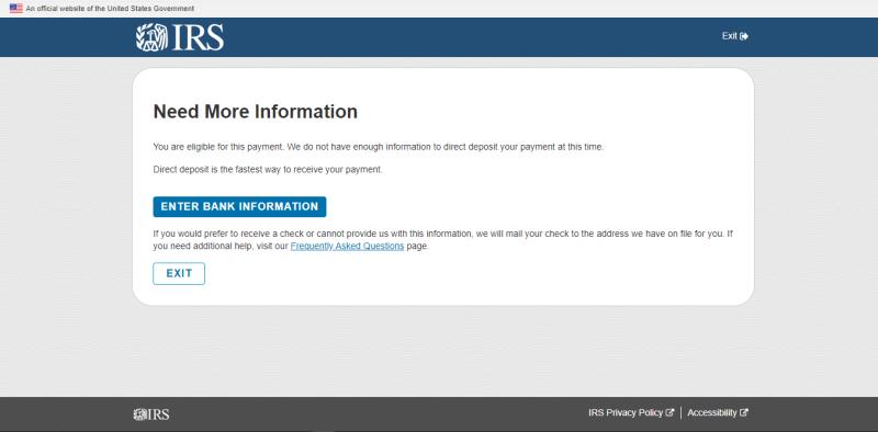 Get My Payment need more info screenshot