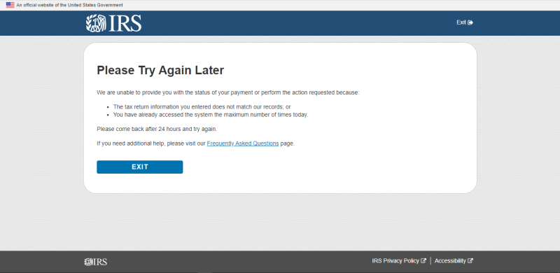 Get My Payment try again later screenshot