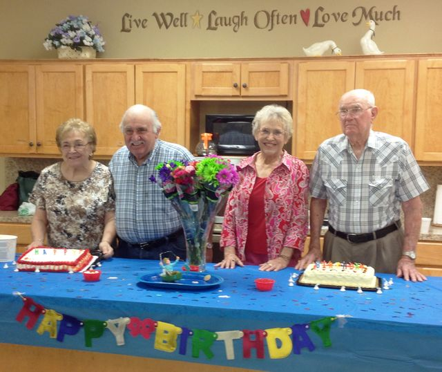 Senior citizens group birthday party