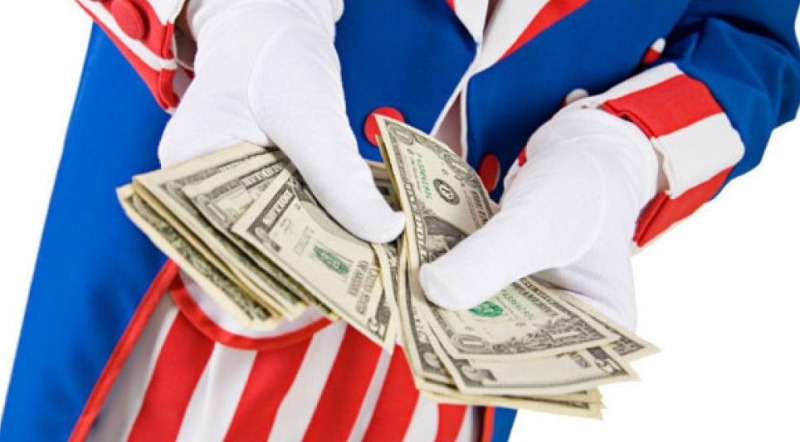Uncle Sam shuffling money-no border