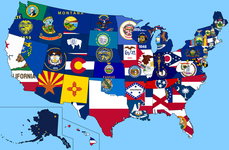 United States 50 state flags