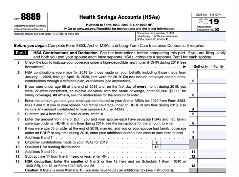 Form 8889 HSA part 1