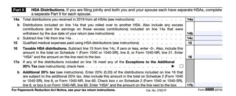 Form 8889 HSA part 2