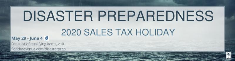 Banner de férias do imposto de preparação para desastre na Flórida 2020