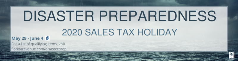 Florida 2020 disaster prep sale tax holiday banner