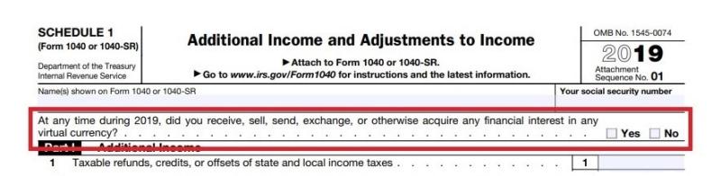Pergunta sobre moeda virtual, formulário 1040 Anexo 1, ano fiscal de 2019